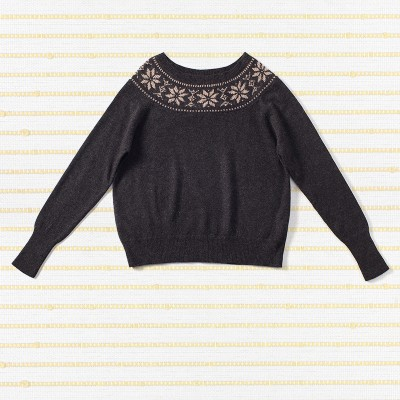 Neck fair Isle sweater, <span>100% cashmere</span>