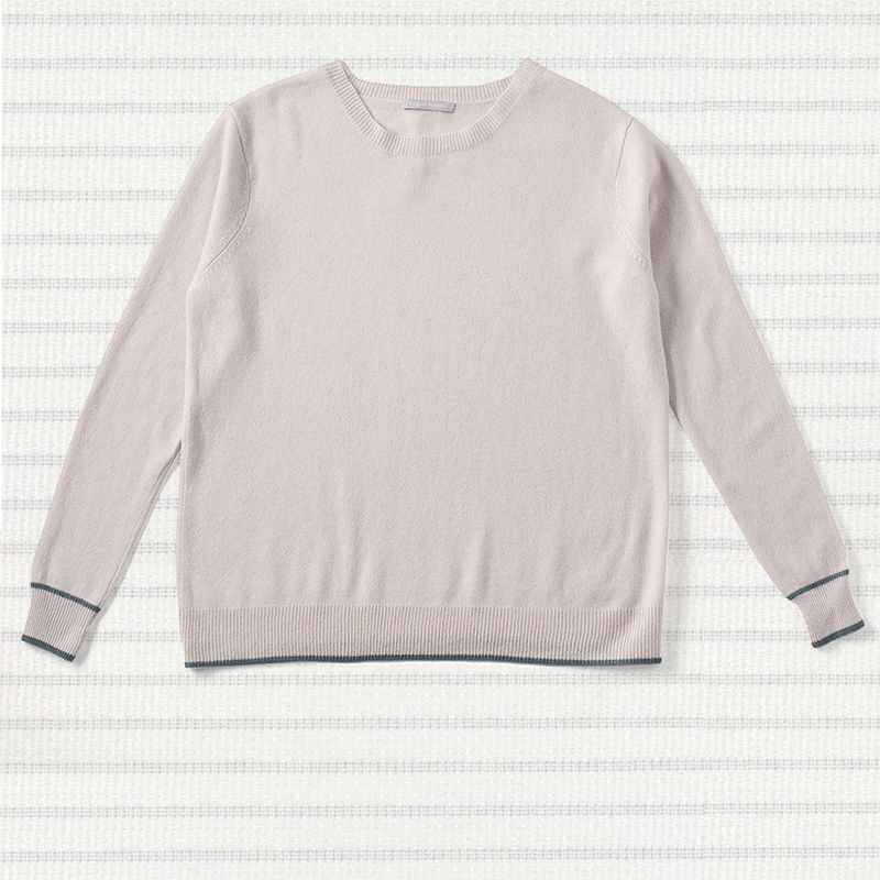 Contrast edge sweater, <span>100% cashmere</span>