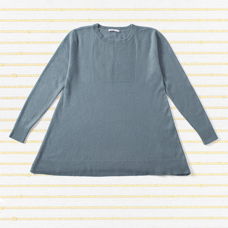 Rib front sweater, <span>100% cashmere</span>