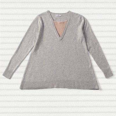 Neck inset sweater, <span>100% cashmere</span>