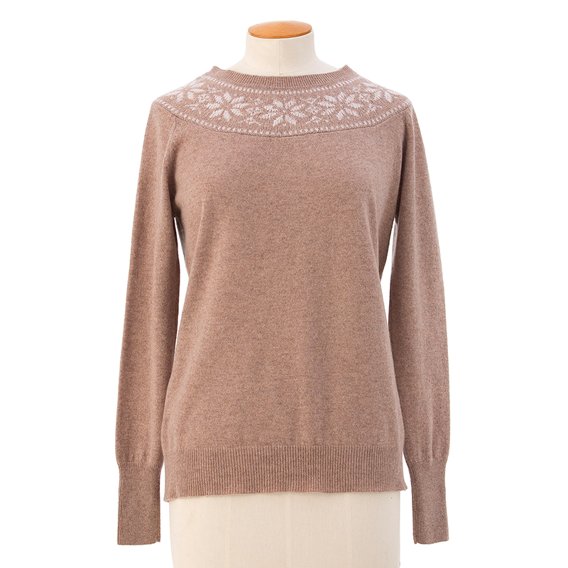 Neck Fair Isle sweater  <span>100% cashmere</span>