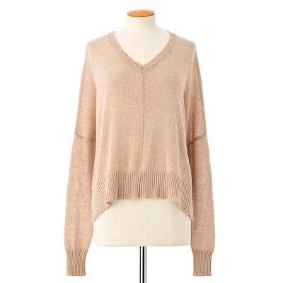 V-neck slouchy sweater <span>cotton cashmere</span>