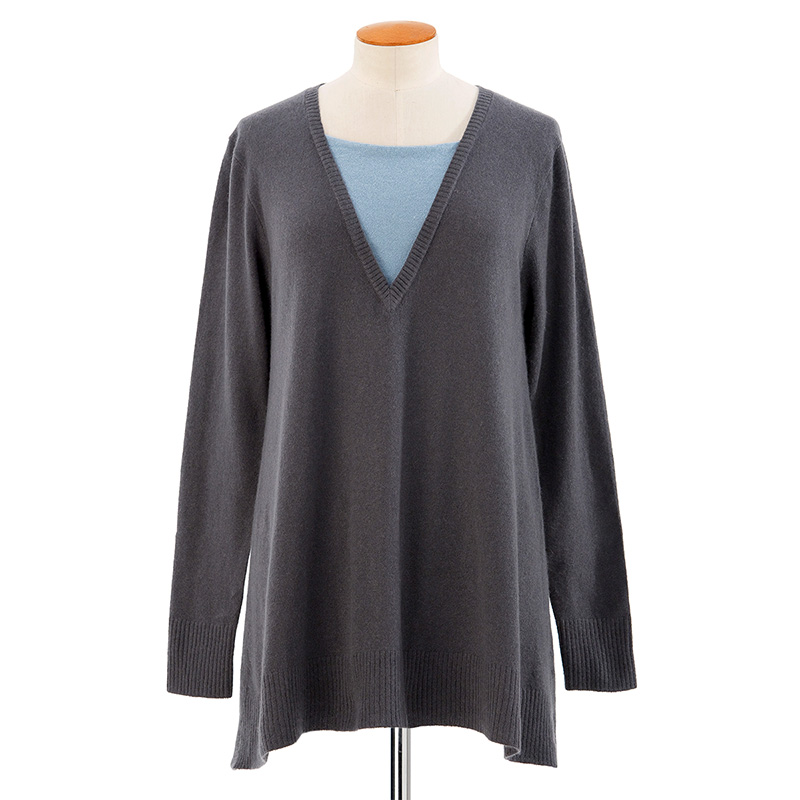 Neck inset sweater<span>100% cashmere</span>