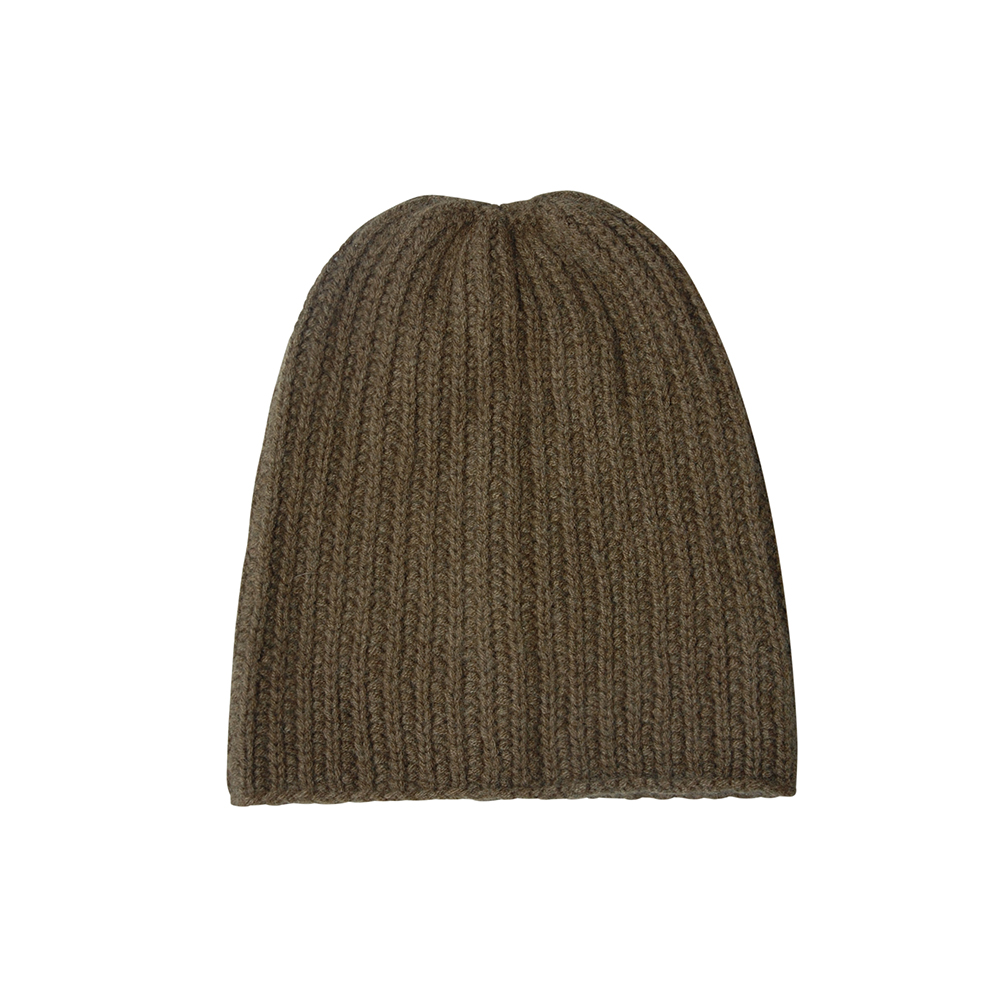 Olive knitted cashmere hat